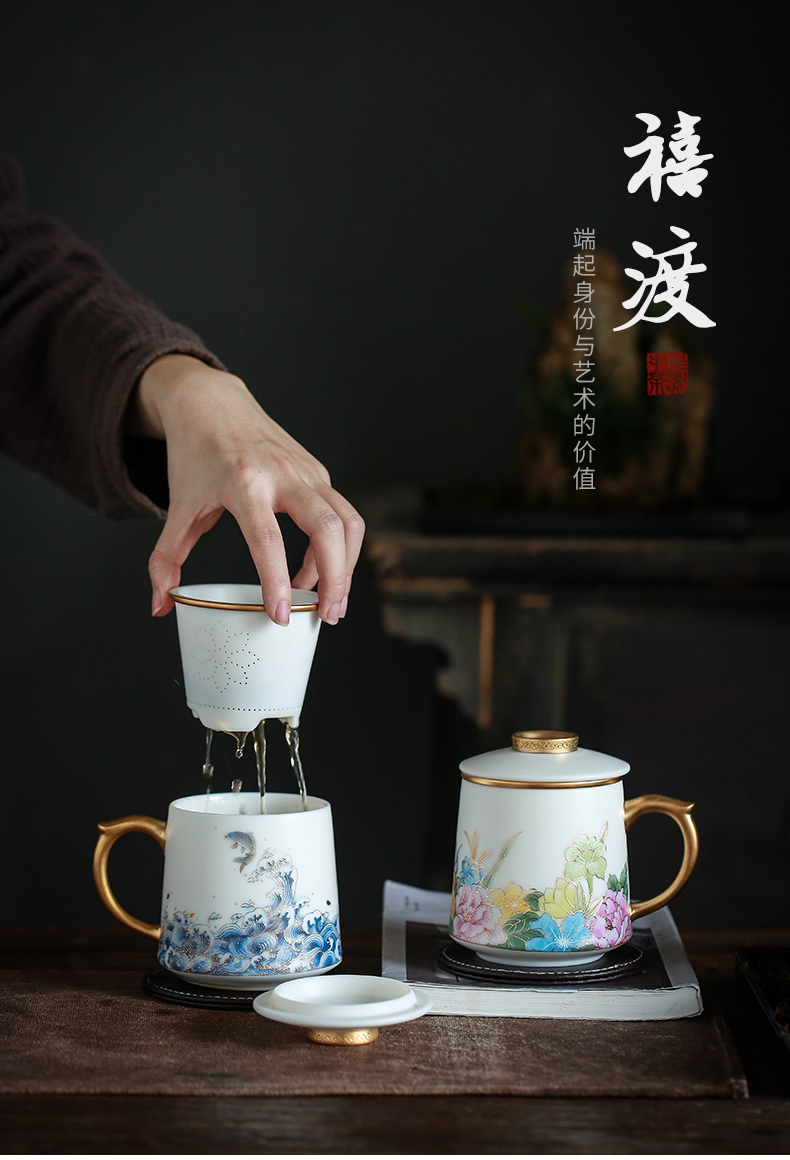 By dehua white porcelain cup By hand the see colour separation ceramic tea office cup with cover filter tea cup