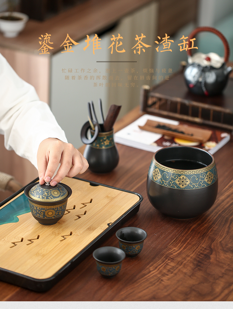 Restoring ancient ways by ceramic tea to wash large home in hot dry tea table cylinder washing water jar kung fu tea accessories