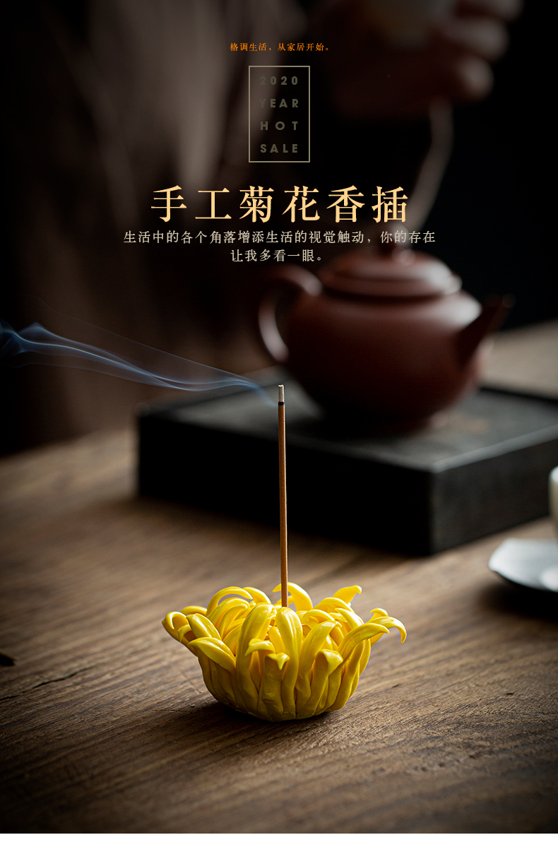 Stick ceramic insert fragrant by peony cut flower tea incense inserted disk tea pet furnishing articles joss Stick inserted