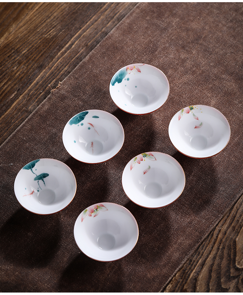By kung fu jingdezhen ceramic cups hand - made sample tea cup single white porcelain tea set master cup small tea light perfectly playable cup