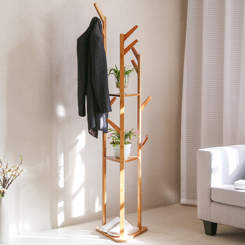 Simple Solid Wooden Clothes Rack Hanging Hanger Floor Bedroom