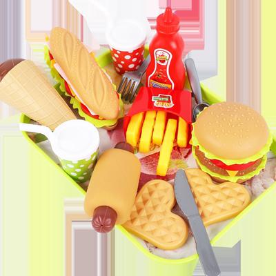 儿童过家家切切乐玩具汉堡包套装火锅西餐薯条仿真厨房小女孩益智