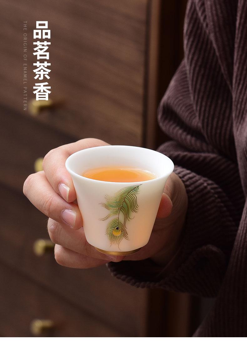 Dehua suet jade white porcelain tea set household kung fu tea tureen that receive a visitor the teapot tea set suit high - end office
