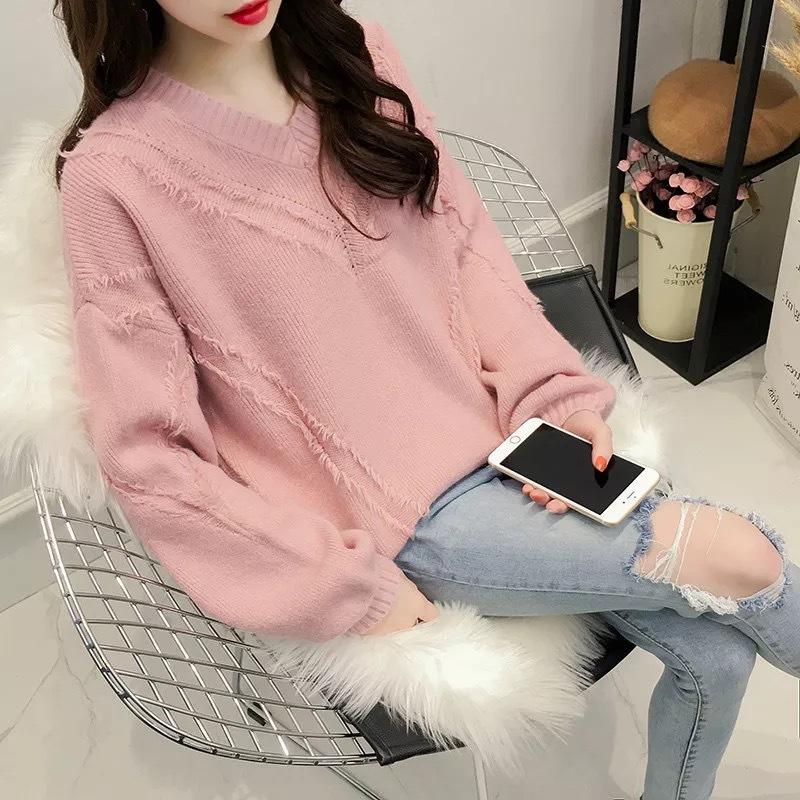 很仙的针织衫女套头长袖秋季2019新款毛衣女短款韩版宽松慵懒风