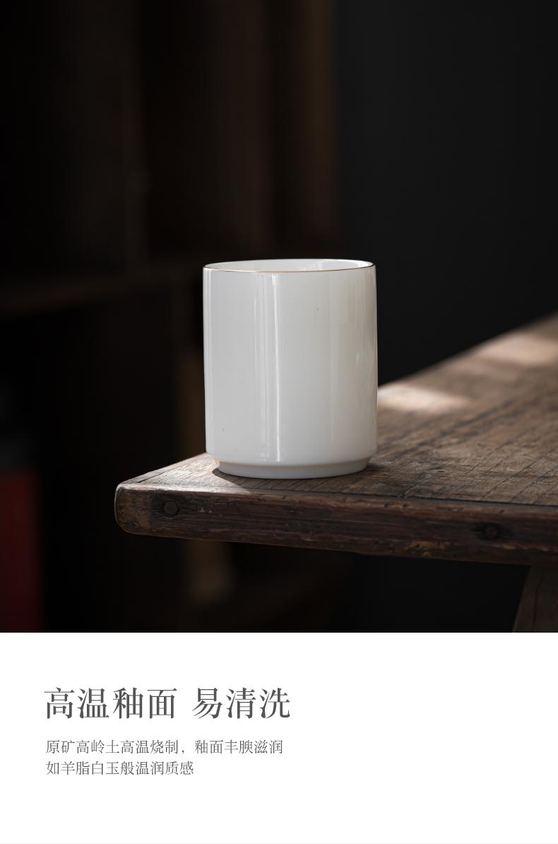 Dehua suet jade porcelain single straight jade porcelain cup cup size sample tea cup tea cups white porcelain kung fu master