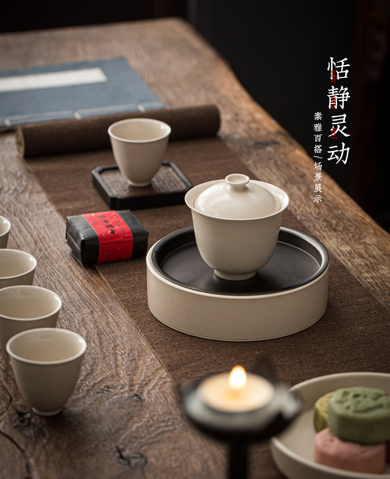 Jingdezhen tureen plant ash kung fu tea set small size only three bowl of manual household ceramic bowl is Japanese