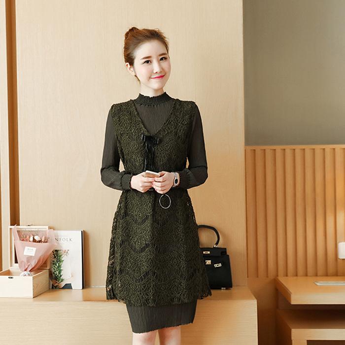春秋短款女针织马甲内搭蕾丝两件套外套韩版针织打底衫笑脸背心潮
