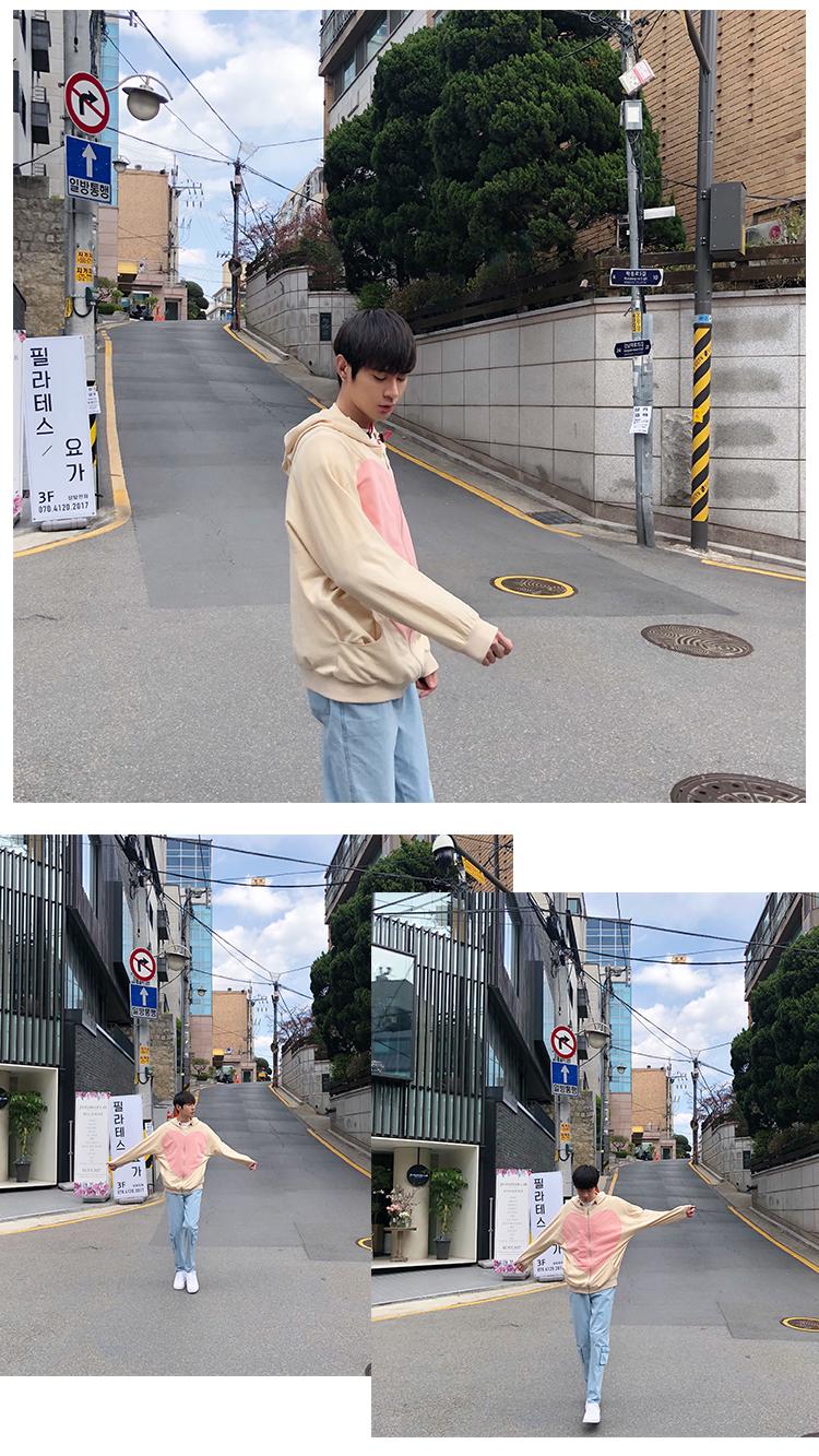 Allgender Chang Xiaohui mùa xuân mới lỏng tình yêu khâu trùm đầu áo len phần mỏng xu hướng tươi áo