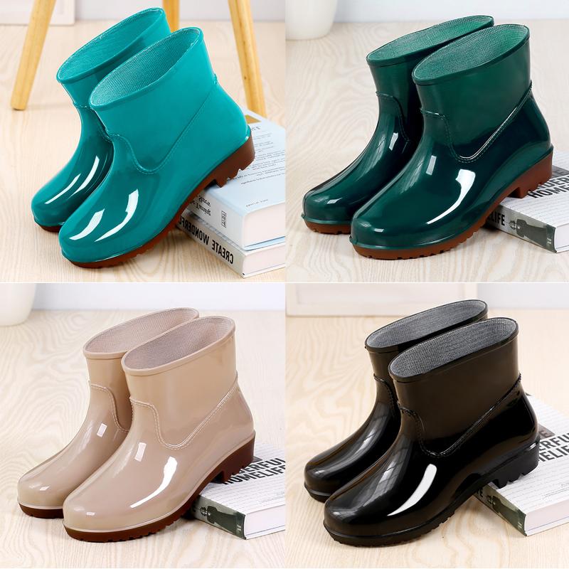 雨鞋女防水短筒水鞋男士夏季低筒厨房防滑雨靴女士耐磨劳工鞋胶鞋