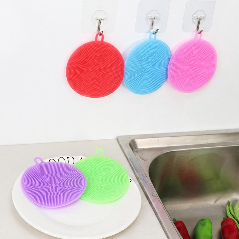 多功能硅胶洗碗刷神器厨房锅刷不粘油去污圆形片硅胶百洁布清洁刷