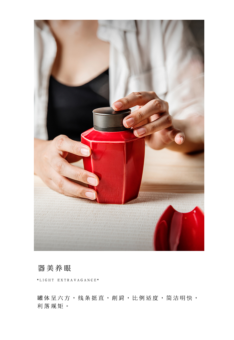 "The Self - ""appropriate content ruby red caddy fixings jingdezhen POTS sealed as cans small Japanese ceramic tea pot storage tanks"