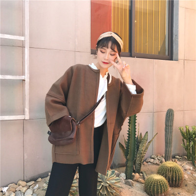 17 autumn and winter Korean women's new solid color loose long sleeve woolen coat short paragraph cardigan woolen jacket