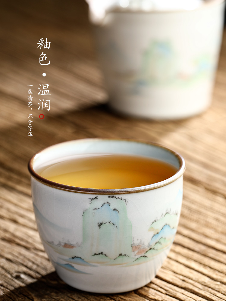 Jingdezhen your up CPU master cup of pure manual sample tea cup single CPU hand - made ceramic kung fu tea set a single landscapes