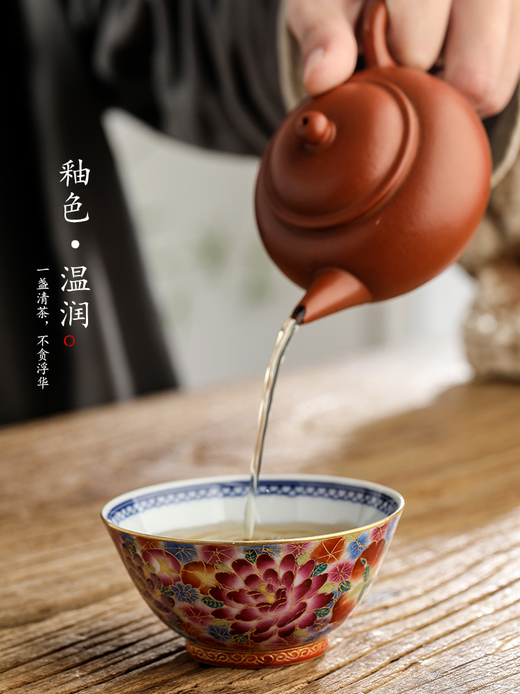 Jingdezhen hand - made colored enamel kung fu masters cup cup pure checking ceramic cups porcelain tea set sample tea cup