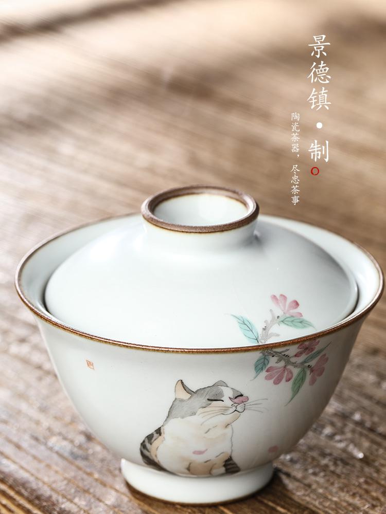 Your up hand - made tureen tea tea bowl jingdezhen upset against the hot piece of ceramic tea set pure manual open cat tea