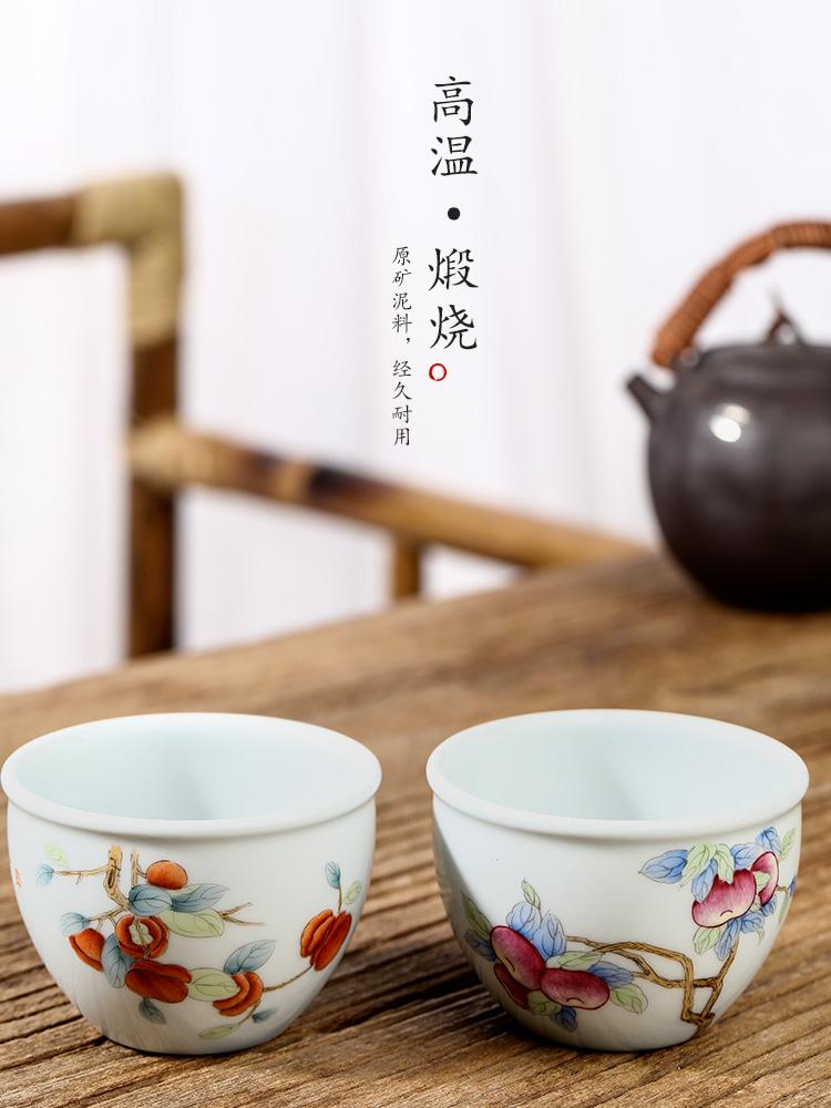 Hand - made ceramic masters cup single CPU jingdezhen kung fu tea sample tea cup single pure manual persimmon bowl tea set