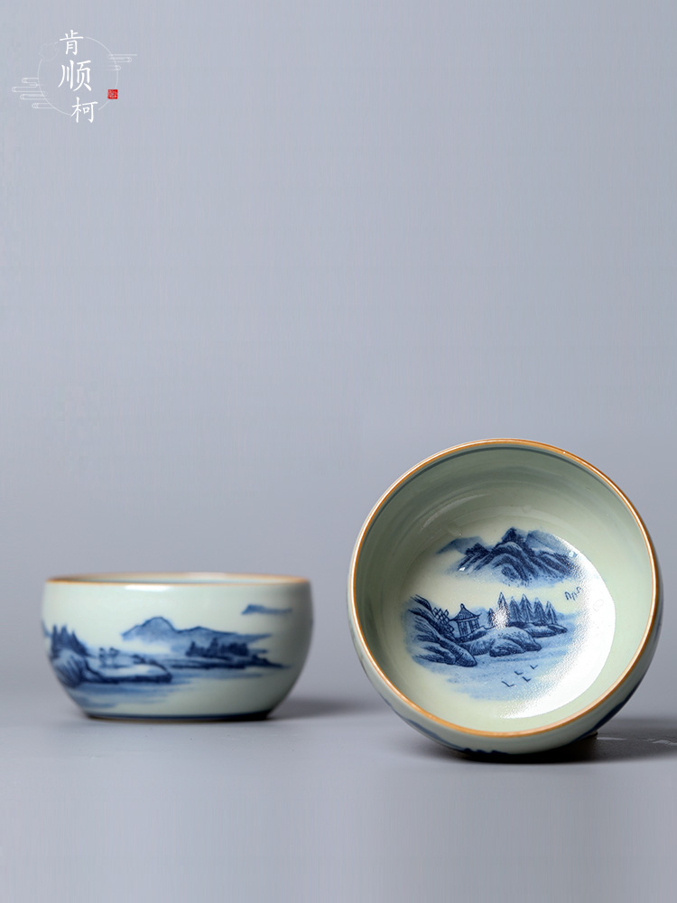 Jingdezhen blue and white master hand - made ceramic cup single cup large bowl landscape sample tea cup tea gift box packaging