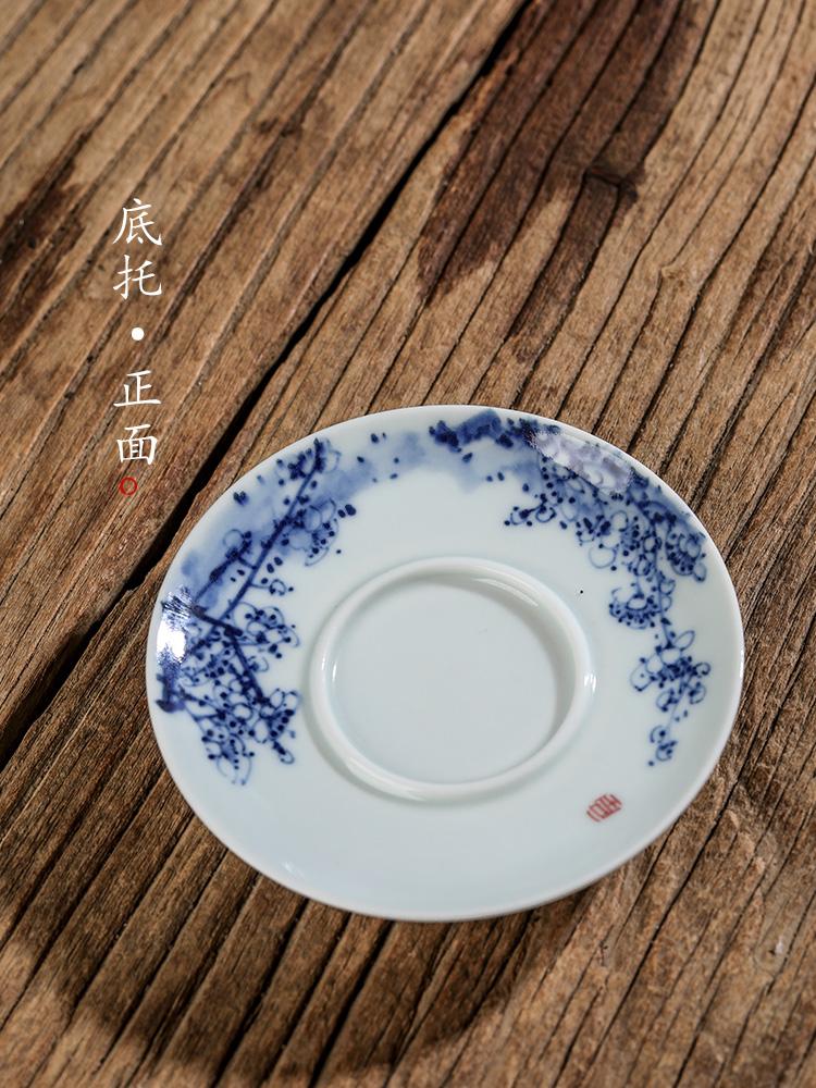 纯手工三才盖碗景德镇青花中式功夫茶泡茶碗手绘金鱼陶瓷复古茶器