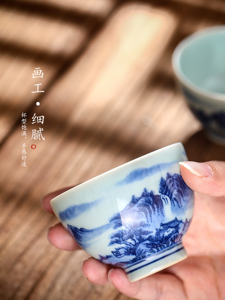 Jingdezhen blue and white master cup cup single CPU hand - made ceramic tea set checking sample tea cup landscape from the lamp