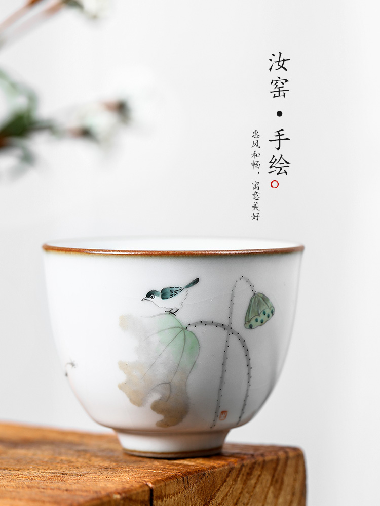 Your up with jingdezhen ceramic sample tea cup master cup single CPU getting pure manual hand - made teacup lotus birds for a cup of tea