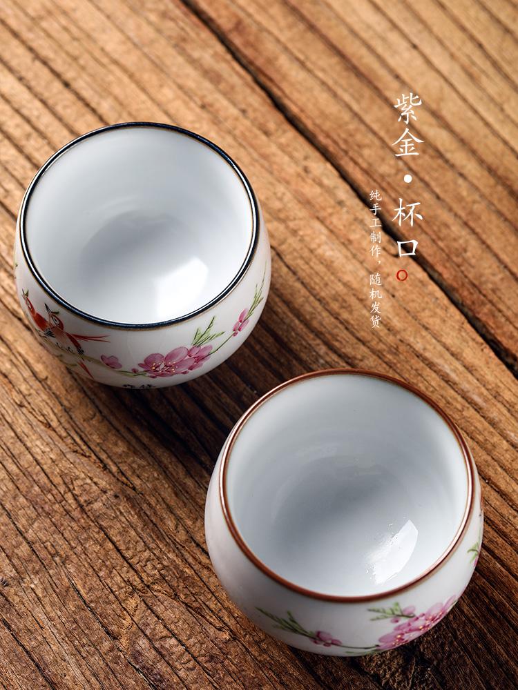 Jingdezhen Xu Jiaxing pastel hand - made peach blossom put water point ru up market metrix who kunfu tea cup of pure manual ceramic sample tea cup
