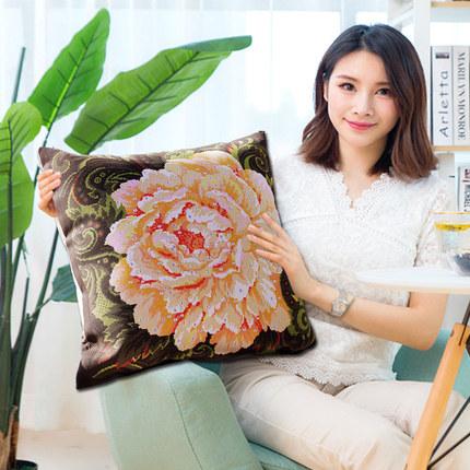 2019新款刺绣手工结婚十字绣抱枕一对情侣枕头套自己客厅沙发卧室