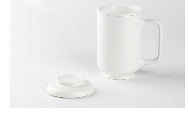 White porcelain cup with filtration separation jingdezhen ceramic keller office tea tea cup can be customized
