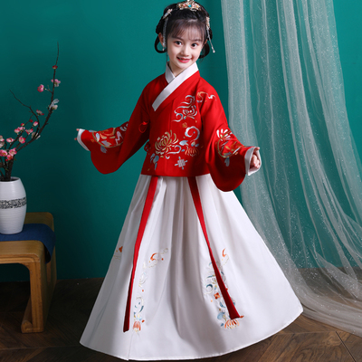 Girls Chinese Hanfu spring dress childrens Chinese style ancient costume Ming system jacket skirt Embroidered Baby Tang suit long sleeve