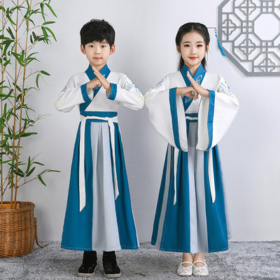 Boys Chinese Hanfu, Chinese style ancient costume, wide sleeve girls traditional Chinese costume, childes three character Sutra, disciple GUIs performance Costume