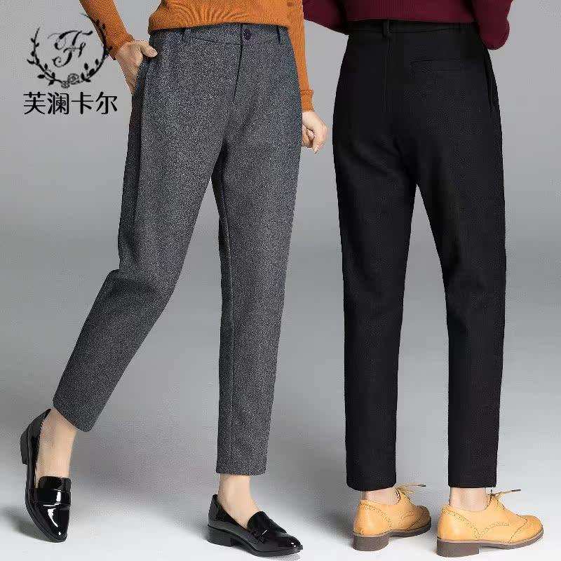2018裤子新款萝卜呢子哈伦裤女裤长羊毛v裤子西裤秋冬裤大码九分裤