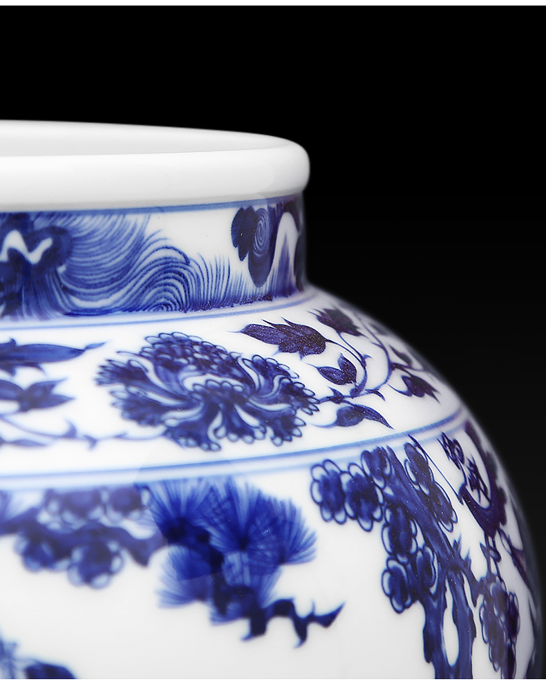 To ceramics high white antique yuan blue and white figure can written down the mountain