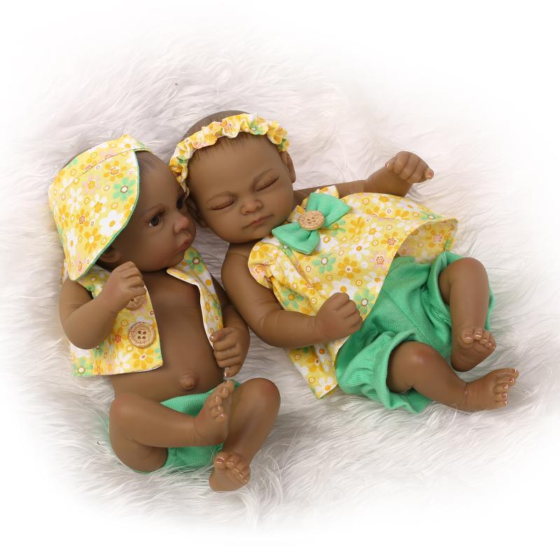 "2PCS 11/"" Handmade Reborn Newborn Baby Doll Soft Silicone Vinyl Indian Boy Girl"