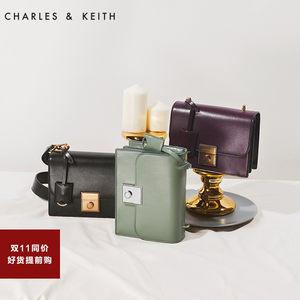 CHARLES&KEITH 小方包 CK2-80780728金属扣吊牌饰女士翻盖单肩包