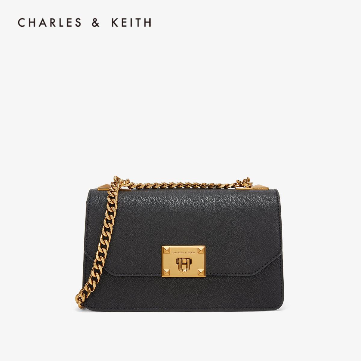 CHARLES&KEITH单肩包CK2-80780832-1金属扣链条翻盖单肩包女包