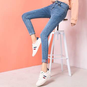 Spring denim trousers new Korean high elastic waist jeans women's tight pencil pants feet long pants