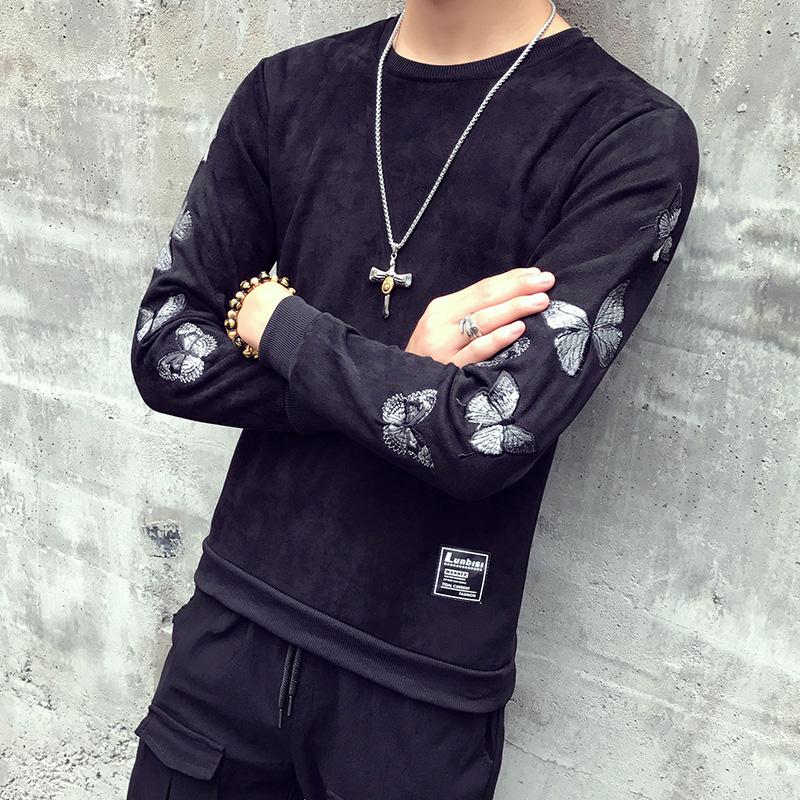 實拍2018港風秋季新款個性男裝寬松衛衣韓版長袖套頭