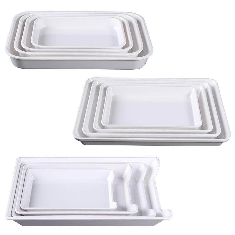 凉菜盘长方形密胺商用卤菜熟食自助快餐展示盘子冷菜蛋糕甜品托盘