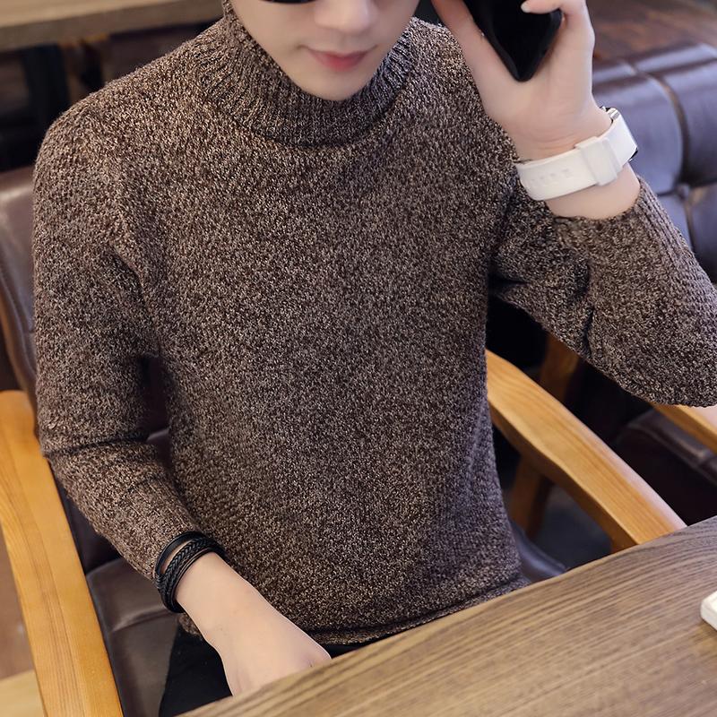冬季时尚毛衣男士高领加厚打底针织衫