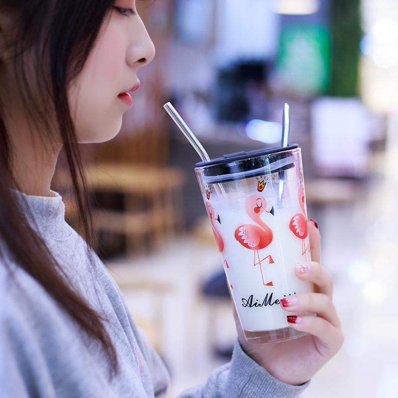 茶迷韩国清新可爱女学生玻璃杯刻度家用耐热早餐牛奶带盖吸管杯子