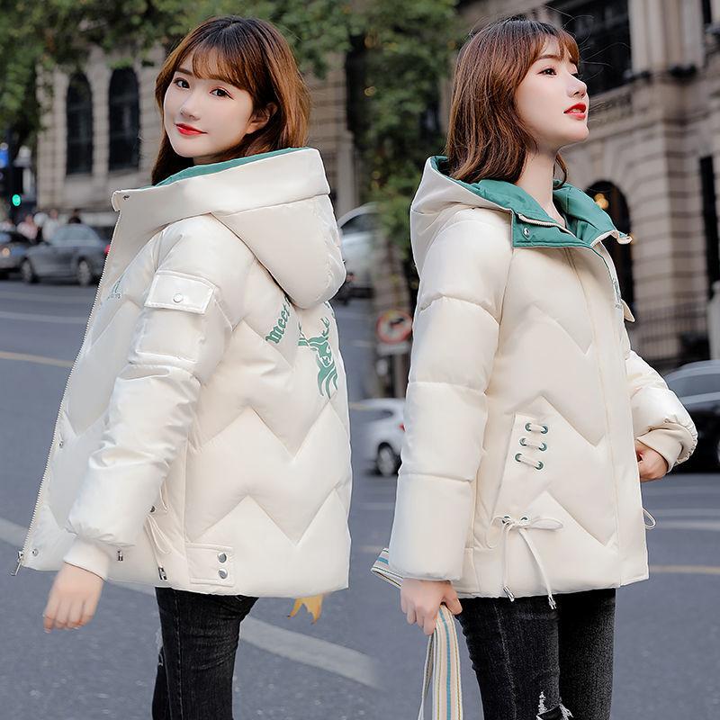 韩版冬季加厚Ψ羽绒棉衣女短款修身印花连帽大←码棉袄棉服保暖外套