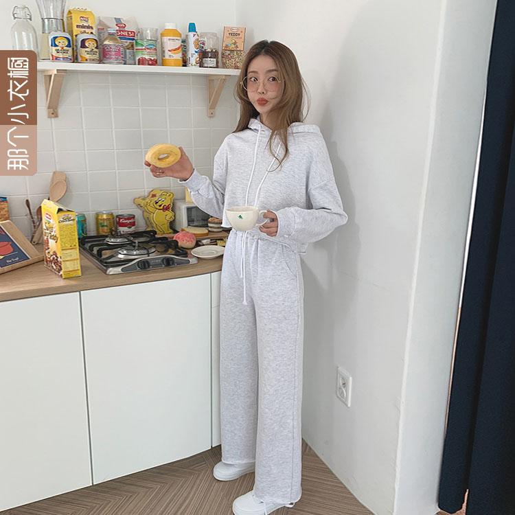 韩国代购长裤2019秋季新款连帽卫衣+阔腿高腰套装v长裤女装MO-AU14