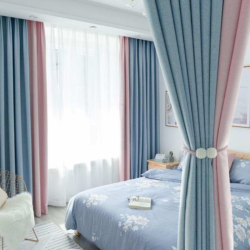 北欧风格ins拼接卧室布料简约现代阳台成品客厅遮光窗帘加厚纯色