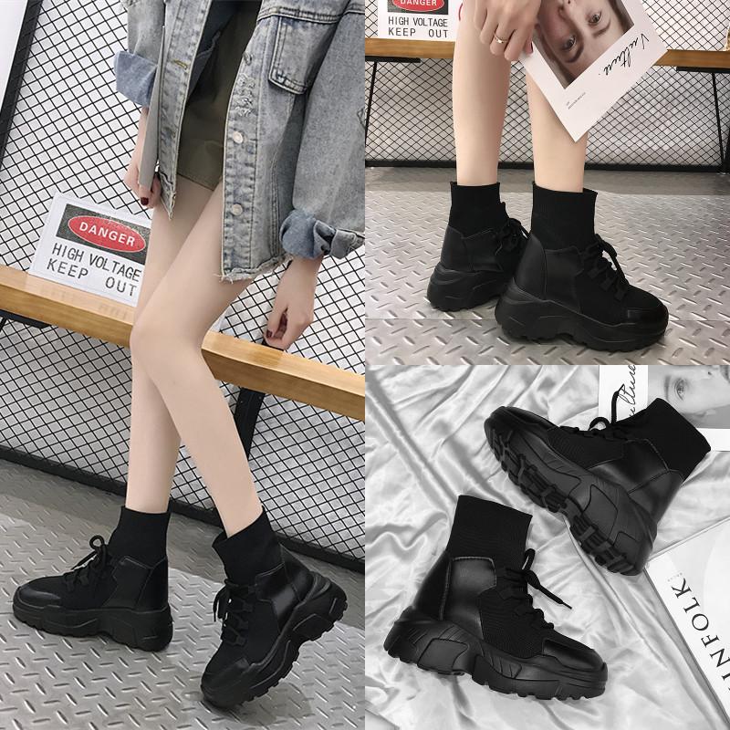 2018春季新款女靴厚底8cm内增高女鞋女显腿长马丁靴女英伦风百搭