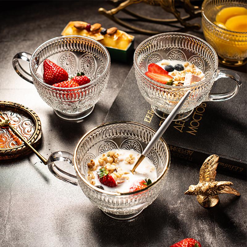 白菜价!4.9分,无铅玻璃,金边大气浮雕:450x2个 行宁福 欧式复古玻璃杯早餐杯