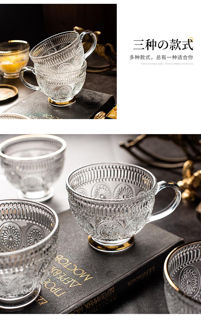 欧式復古无铅玻璃杯水杯茶杯北欧咖啡牛奶杯带把手大容量燕麦杯详细照片