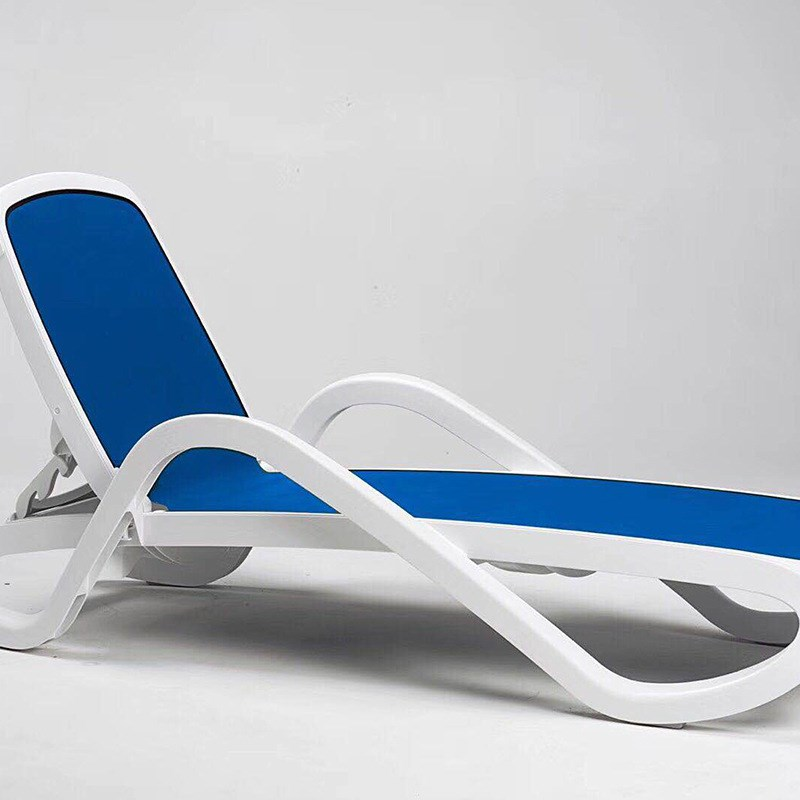 Plastic recliner outdoor beach chair pool hotel lying bed outdoor courtyard balcony rattan fold-out casual lounge chair bed