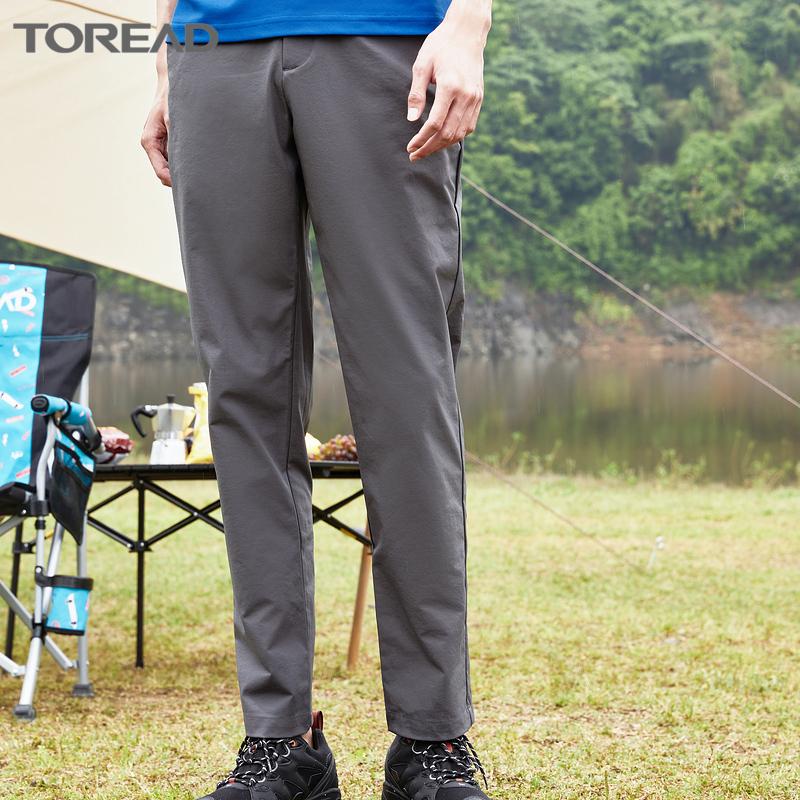 探路者休闲长裤2021夏季新款软弹力男士徒步登山攀岩健身透气(探路者新款透气休闲弹力长裤)