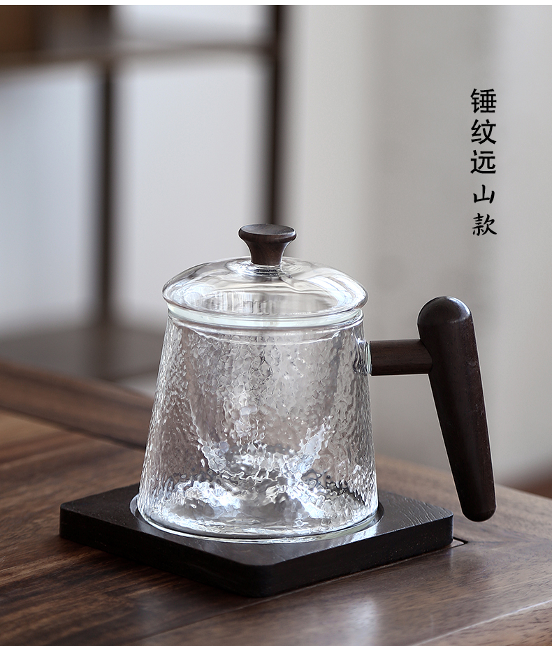 By mud glass office of large capacity hot water cup home tea cup with wooden handle, filter mark cup with cover