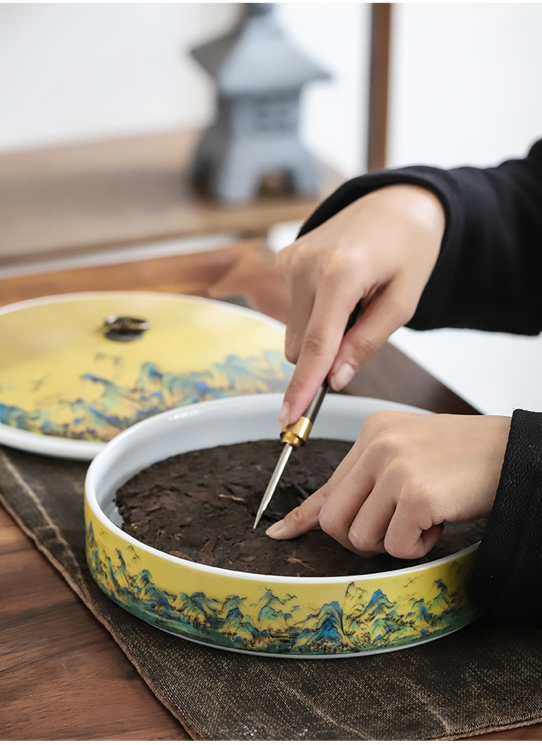 By mud li jiangshan Chinese wind puer tea boxes, tea cake store caddy fixings receive large ceramic multilayer storage