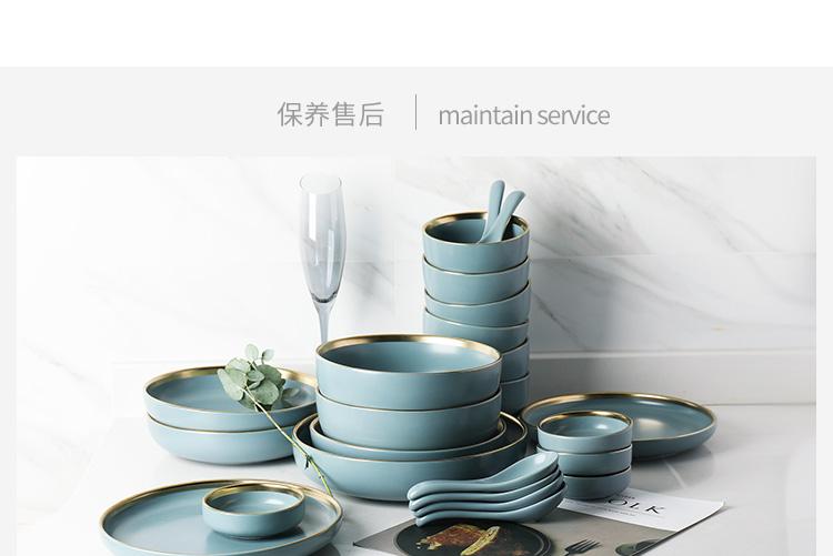 半房金边雅蓝陶瓷餐具套装多人食碗盘西餐牛排盘米饭碗送人礼盒装商品详情图